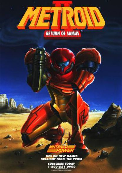 Poster for 'Metroid II: Return of Samus,' a classic for the Game Boy console.