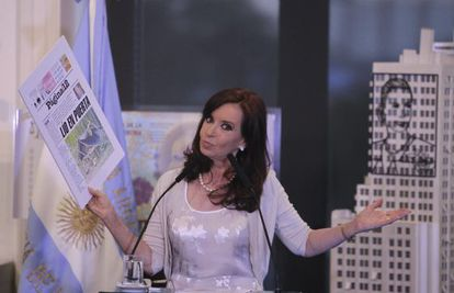 Cristina Fernández de Kirncher during her address on Tuesday night.