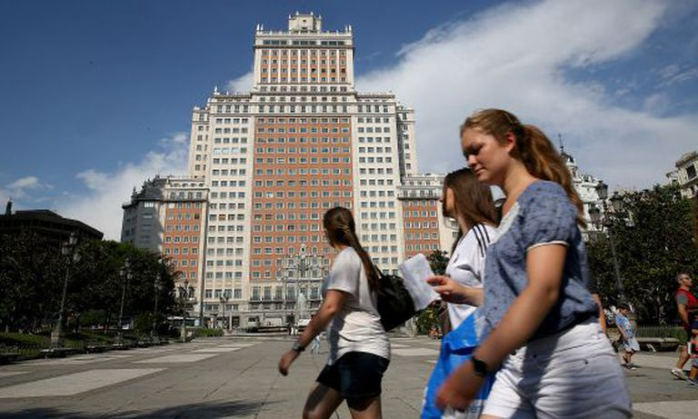 The Edificio España looks over Plaza España, in downtown Madrid.