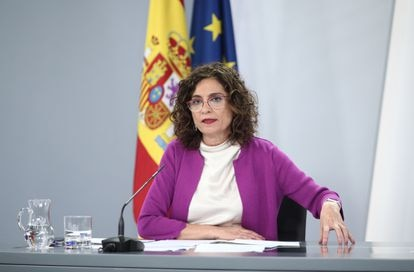 Government spokesperson and finance minister María Jesús Montero at a news conference on Tuesday.