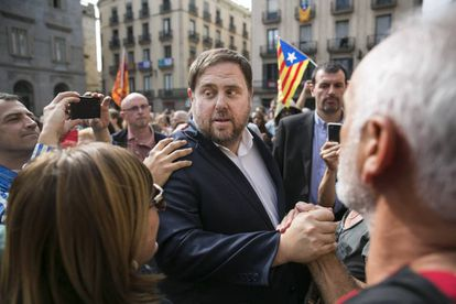 Oriol Junqueras in a protest at Plaza Sant Jaume in Barcelona.