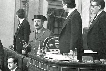 José Bono (front) was 30 years old and a serving deputy when the plotters burst into Congress.