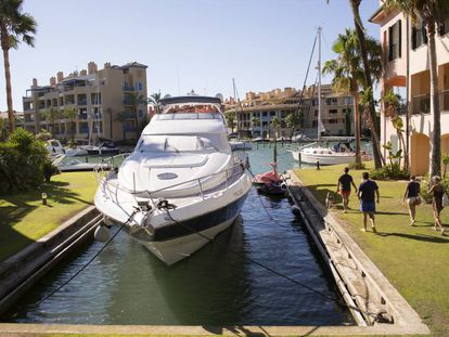 A yacht in the exclusive Sotogrande community, in Spain's southern Cádiz province.