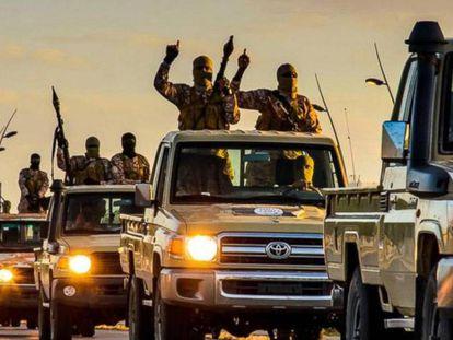 ISIS militants in Sirte, Libya, in February 2015.