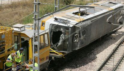 One of the train cars involved in the crash.