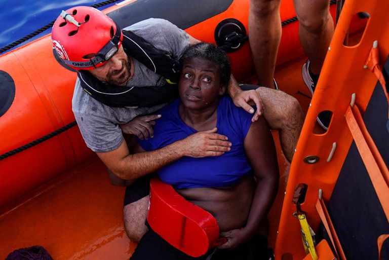 The woman rescued in the Mediterranean Sea on Tuesday.