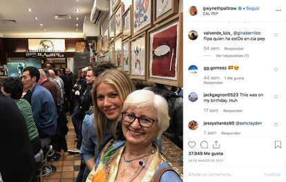 Gwyneth Paltrow poses for an Instagram photo with the mother of her Spanish exchange family.