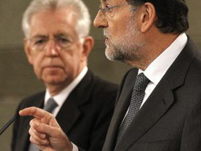 Rajoy and Monti during a press conference in Madrid on Monday.