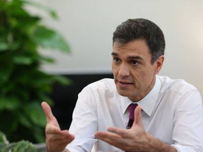 Pedro Sánchez during the interview.