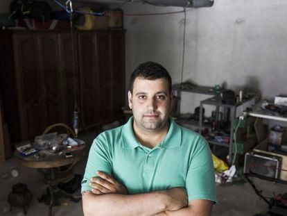 David Pena in the garage of his home outside Santiago de Compostela.