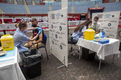 A vaccination site in San Sebastián last month.