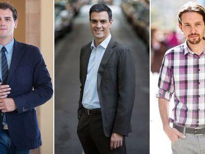 Ciudadanos' Albert Rivera, PSOE's Pedro Sánchez and Podemos' Pablo Iglesias.