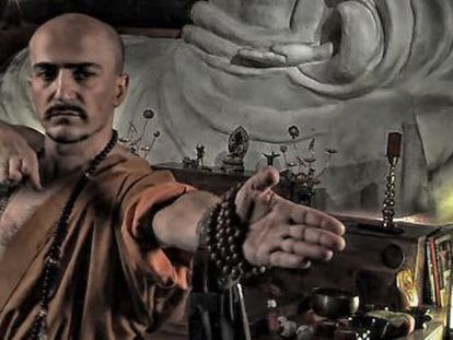 Fake Shaolin monk Juan Carlos Aguilar in an image taken from one of his videos.