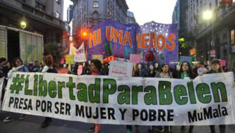 A march in Buenos Aires in 2016 calling for the release of Belén.