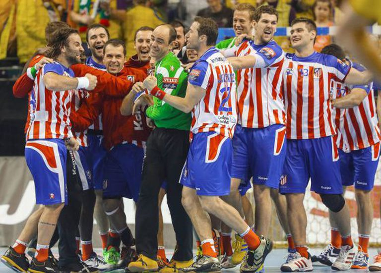 Atlético players, pictured last year after a victory.