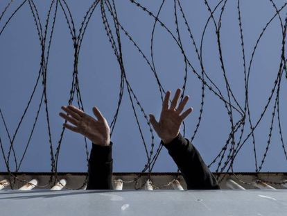 A migrant holding center in Ceuta.