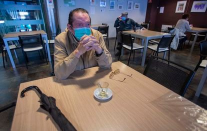 José Luis, sitting at a cafeteria in San Sebastián, says his social life has all but disappeared due to the coronavirus crisis.