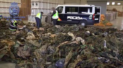 Military uniforms meant for Islamic State and seized at the port of Valencia.