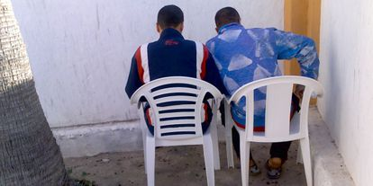 Two Sahrawi refugees after their arrival in the Canary Islands in 2011.