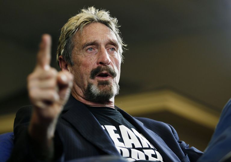 A 2015 file photo of internet security pioneer John McAfee.