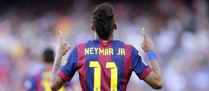 Neymar celebrating one of his 105 goals at Barcelona.