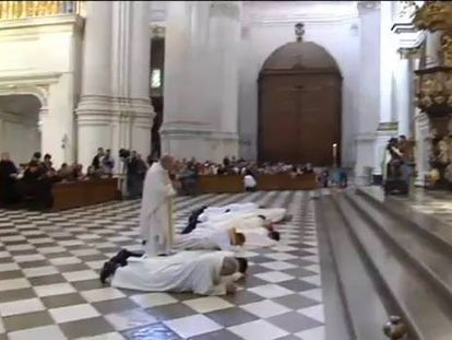 The Archbishop of Granada prostrates himself over the abuses in the city's cathedral on Sunday.