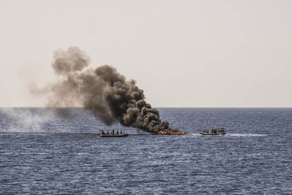 International maritime law requires the 'pateras' to be sunk, but in emergencies, the quickest means of rendering them useless is to set them on fire.