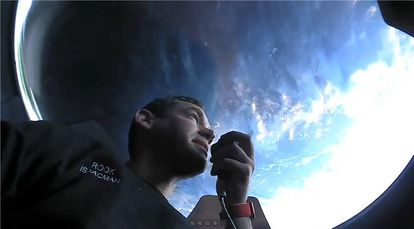 Billionaire Jared Isaacman during his private spaceflight.