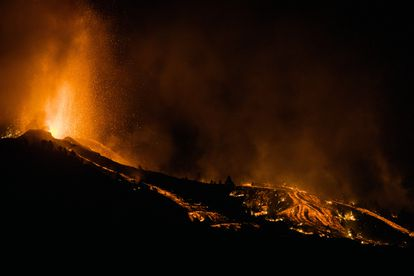The eruptions from the volcano continued into Sunday night.