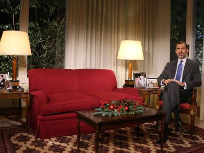 Felipe VI during his first ever Christmas Eve address to the nation.