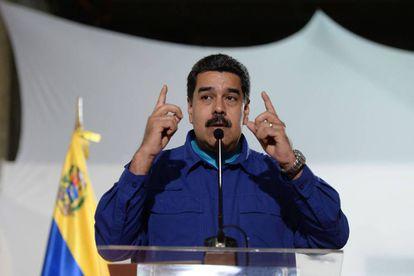 Venezuela President Nicolas Maduro speaking to the press on February 8.