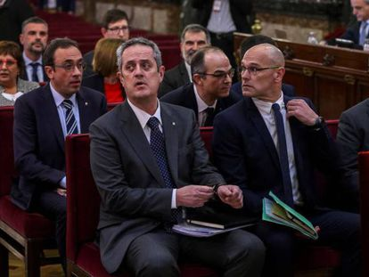 Leaders of the Catalan breakaway attempt during their trial at the Supreme Court in October 2019.