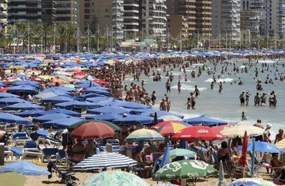 Thousands of vacationers crammed into Benidorm's Levante beach earlier this month
