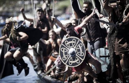 A historical reenactment of the Viking landing at Catoira, Pontevedra, in the 10th century.