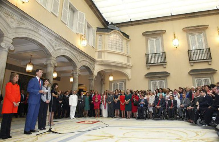 King Felipe VI addresses the representatives of social groups on Tuesday.