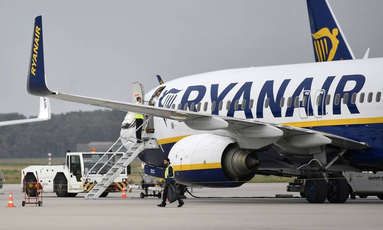 A Ryanair plane in Germany.