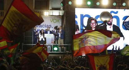 Vox leader Santiago Abascal on election night.