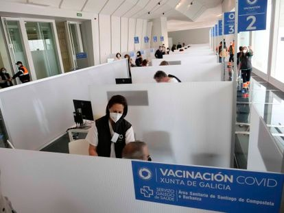 People getting inoculated with the AstraZeneca vaccine in Santiago de Compostela, in Spain's Galicia region.