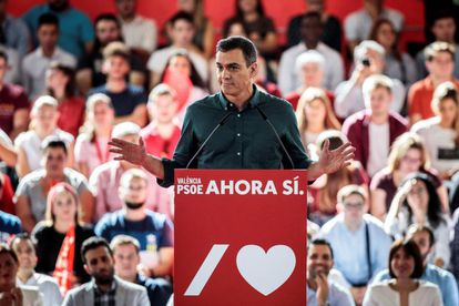 Caretaker Prime Minister Pedro Sánchez during a campaign rally for the upcoming November 10 elections, in Mislata, Valencia.