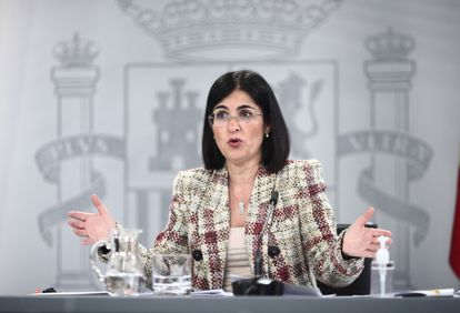 Spain's Health Minister Carolina Darias during a press conference on Tuesday.