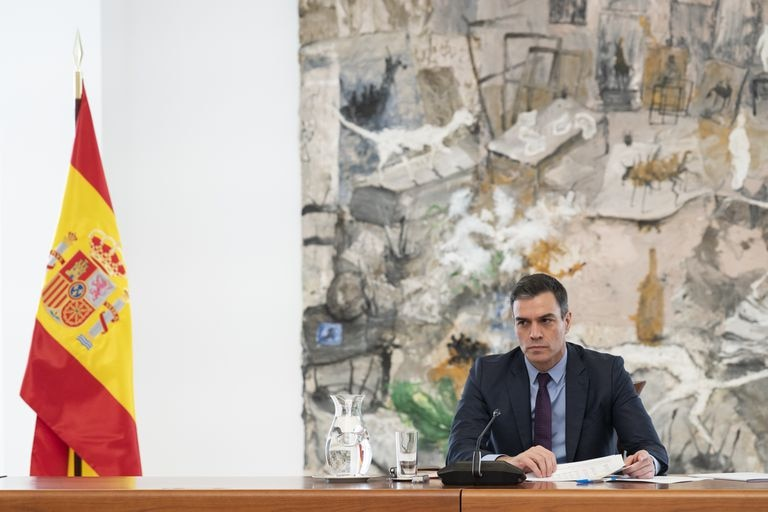Prime Minister Pedro Sánchez at a meeting of Committee for the Technical Management of Covid-19 on Saturday.
