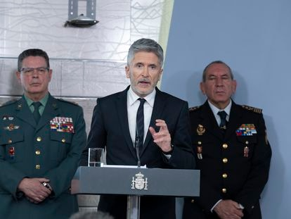 Interior Minister Fernando Grande-Marlaska announces the border closure on Monday.