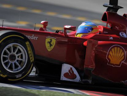 Ferrari's Spanish Fernando Alonso drives during the Formula 1 test day in Montmelo, near Barcelona.