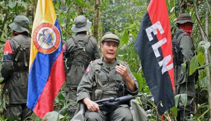Members of the ELN rebel movement seen last April.