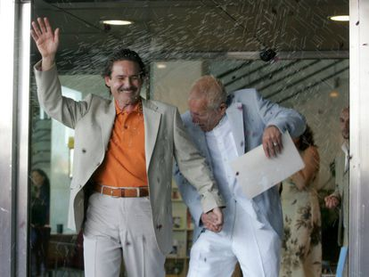 The first same-sex marriage in Spain was held eight days after the law was changed when Emilio Menéndez (left) married Carlos Baturín at a ceremony in the Madrid town of Tres Cantos on July 11, 2005.
