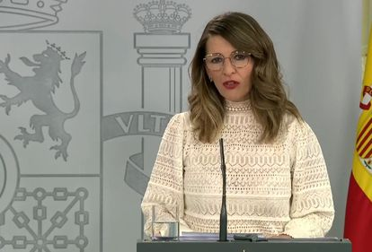 Labor Minister Yolanda Díaz on Sunday.