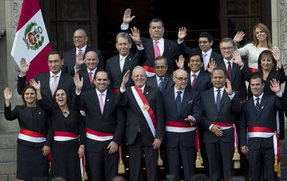 Kuczynski and his new government at last week's swearing in ceremony.
