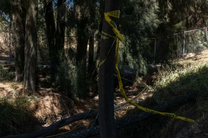 Security tape cordons off the site where 18 bags containing human remains were dumped.