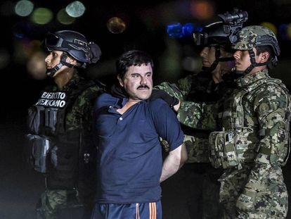 Joaquín Guzmán, 'El Chapo', after he was arrested in January 2016.