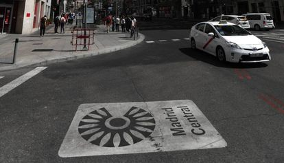 An entrance to the Madrid Central low-emissions zone.